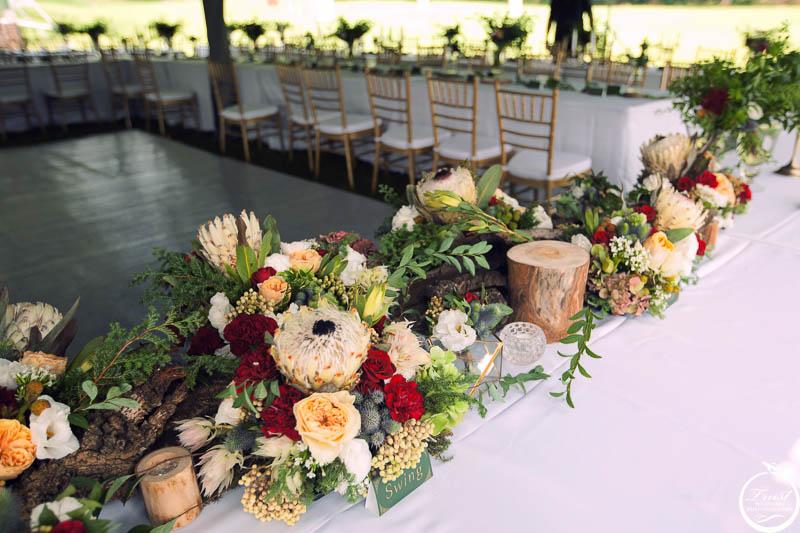 戶外婚禮桌花佈置